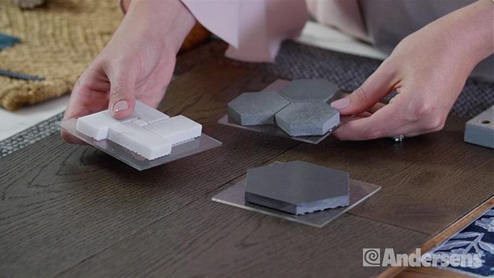 Comparing flooring samples