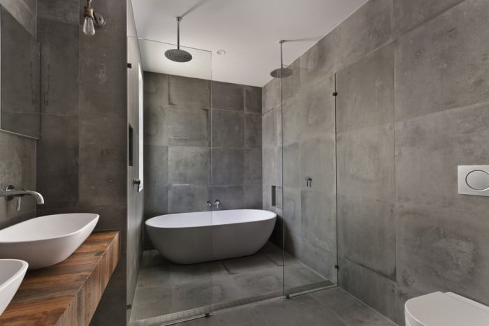 Minimalist grey bathoom