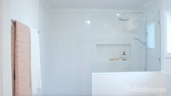 Walk in shower in ensuite bathroom