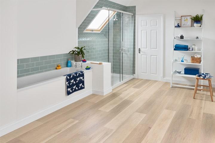 Clean, white modern bathroom
