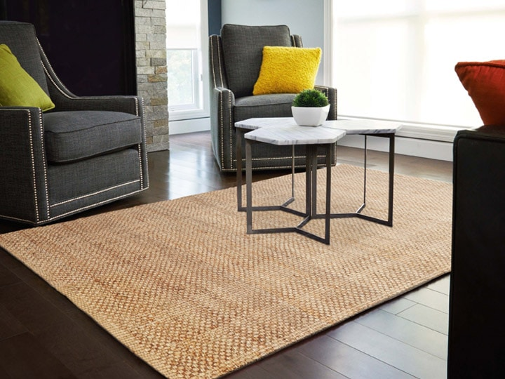 Jute rug in formal living space