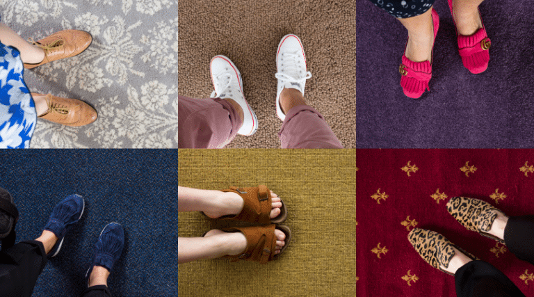 Collage of close up aerial view of various pairs of feet on carpet
