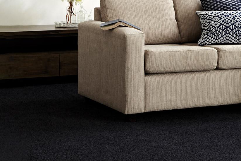 Close-up of sofa sitting on black carpet