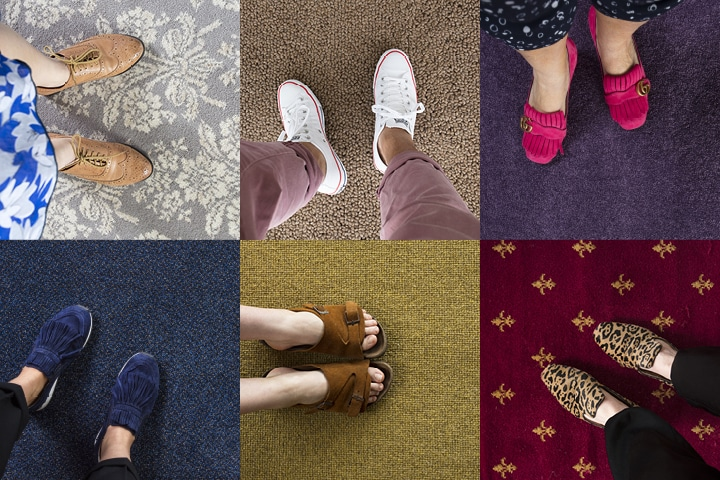 Collage of aerial shots of feet standing on different styles of carpet